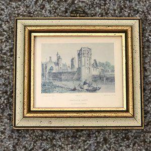 Vintage Framed Art Chateau De Gratot Beige/Gold